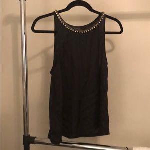 Black tank blouse with jeweled neckline